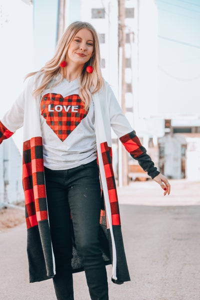 "In My Heart Plaid ""Love"" Graphic Tee In Multiple Colors"
