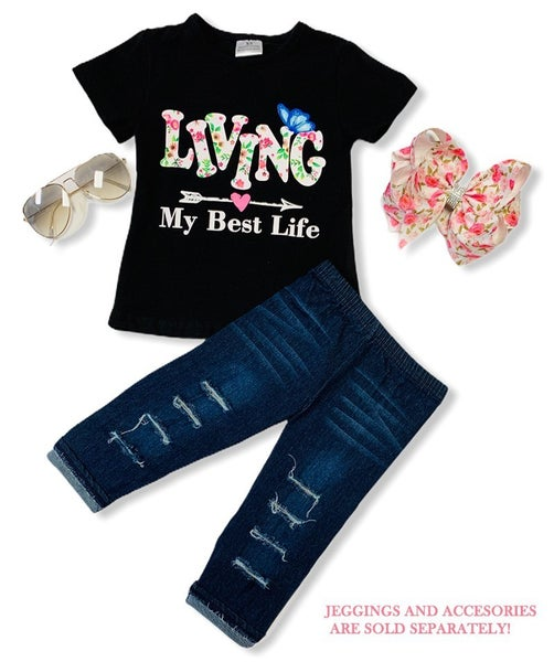 Living My Best Life Girls Graphic Tee  ***PREORDER*** - Sizes 6M-8Y