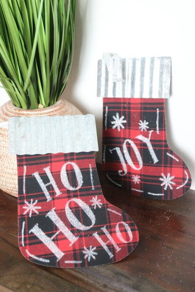 Galvanized Tin And Red Buffalo Plaid Stocking With Multiple Sayings