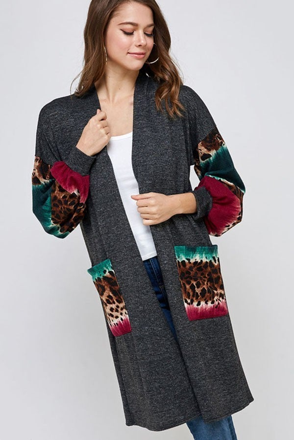 Prowling in the Night  Animal Print Bubble Sleeve and Pocket Cardigan in Multiple Colors- Sizes 4-10