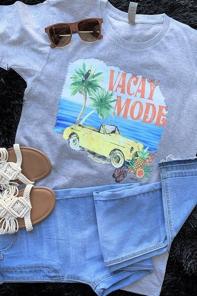 Vacay Mode Graphic Tee in Heather Gray - Sizes 4-20