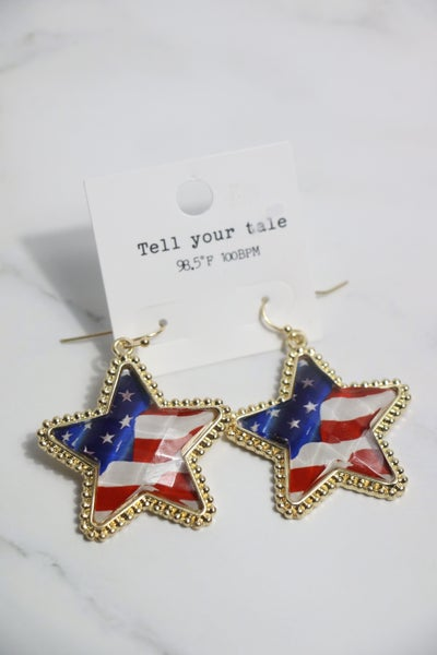 Star Spangled Flag Star Shape Earring In Gold
