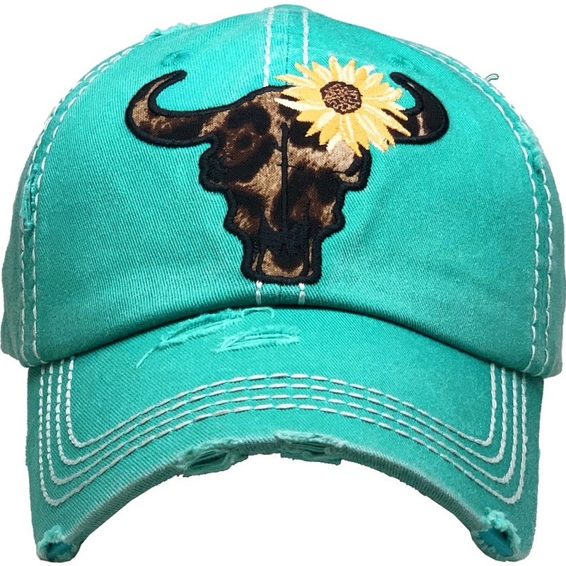 Sunny Day Embroidered Leopard Skull with Sunflower in Multiple Colors