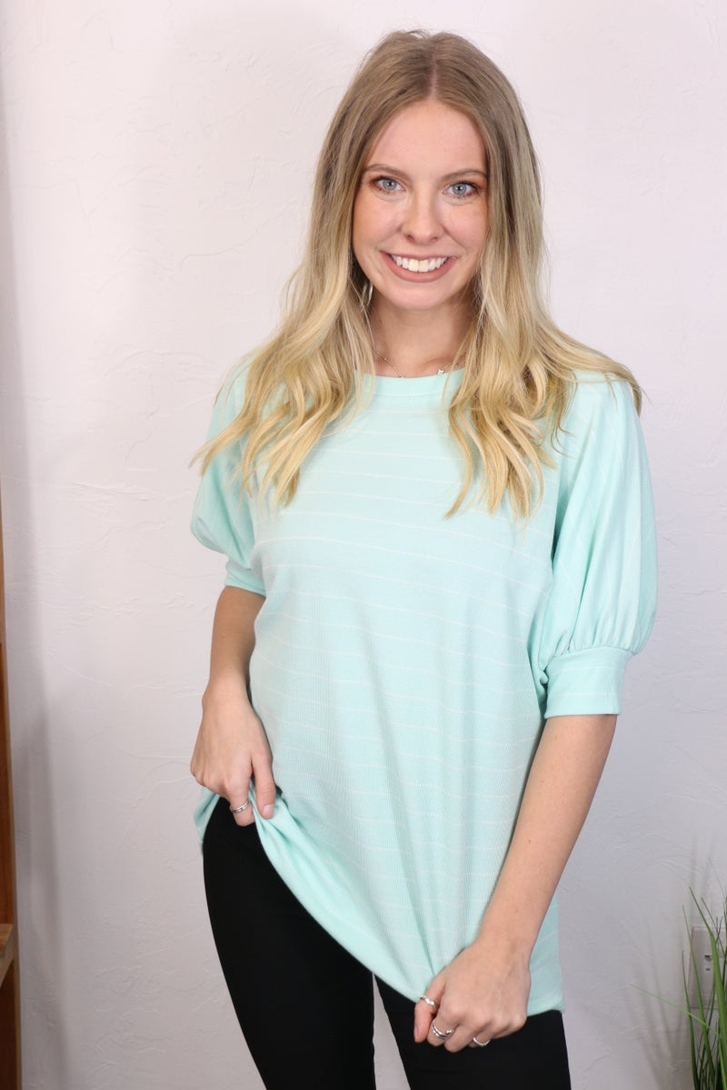 Be My Friend Mint Striped Knit Top - Sizes 4-10