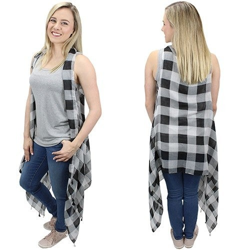 Holiday Cheer Buffalo Check Waterfall Vest with Tasseled Hem in Multiple Colors - One Size Fits Most