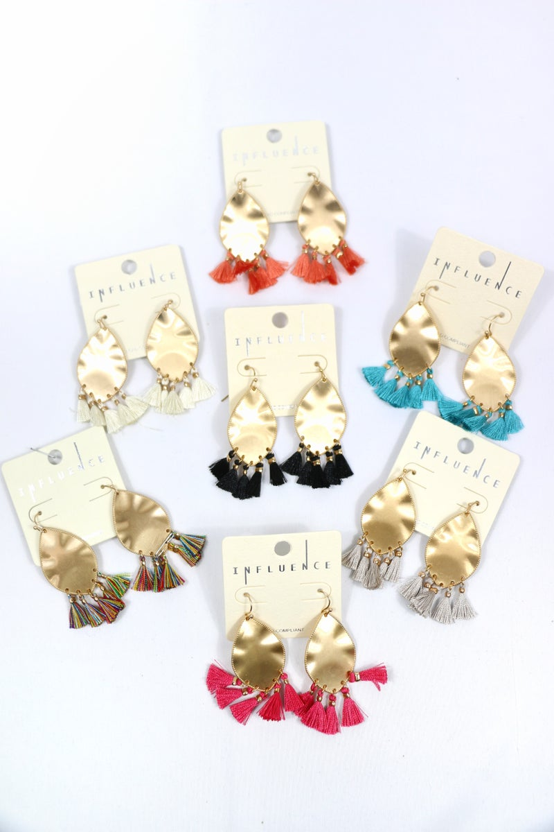 A Matter Of Time Gold Leaf Shape Earring With 5 Tassels In Multiple Colors