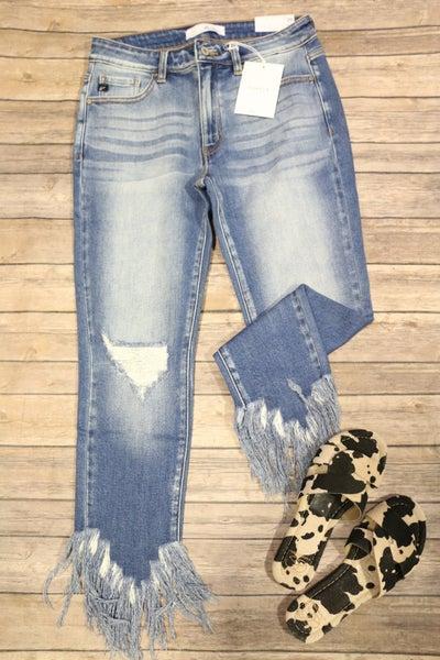 The Gemma KanCan Midrise Medium Wash Skinny Jean with Frayed Hem - Sizes 0-15