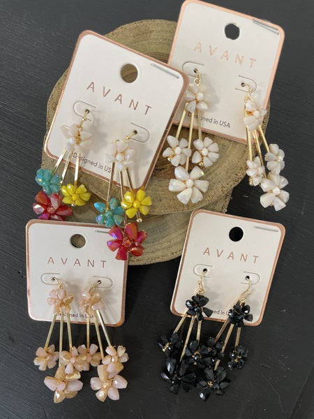Always There Drop Earring With Crystal Bead Flowers In Multiple Colors