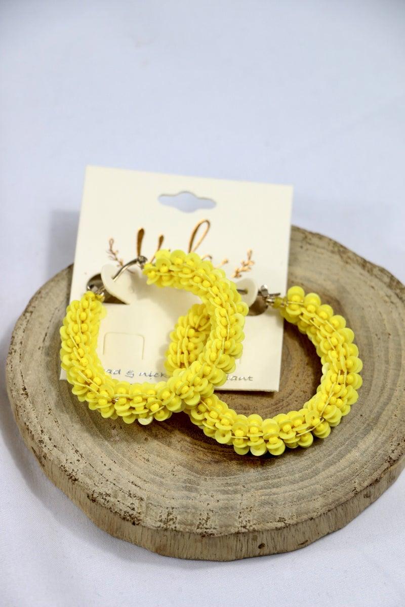 Trust In Me Seed Bead And Disc Hoop Earring In Multiple Colors