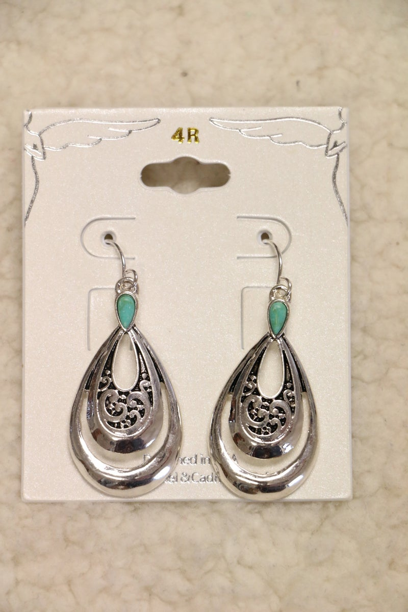 Sweet As Can Be Double Silver Teardrop Earring With Turquoise Detail