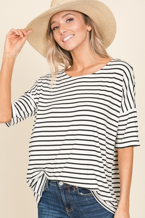 Smile Brighter Ivory Striped Short Sleeve Top - Sizes 4-12