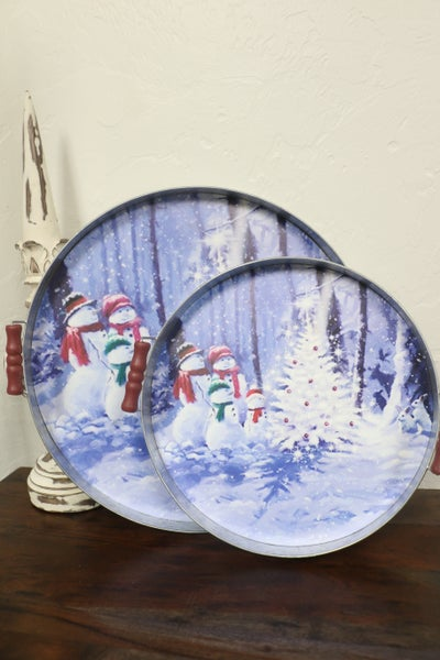 Set of 2 Christmas Trays with Handles