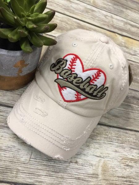 I Love Baseball Distressed Ball Cap In Khaki