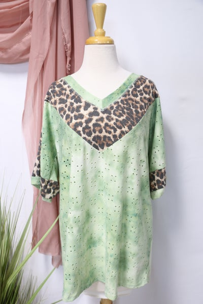 All Together Now Green Eyelet V Neck Top With Leopard Details- Sizes 4-20