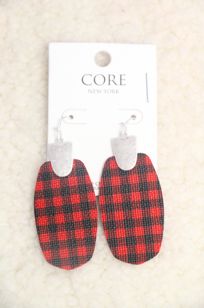 On The Hunt Red Leather Buffalo Plaid Earring In Silver