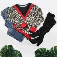 Gotta Be Fierce Leopard V Color Block Top in Multiple Colors - Sizes 4-20