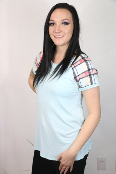 Take Your Shot Short Sleeve Raglan with Plaid Contrast Sleeve in Multiple Colors - Sizes 4-20