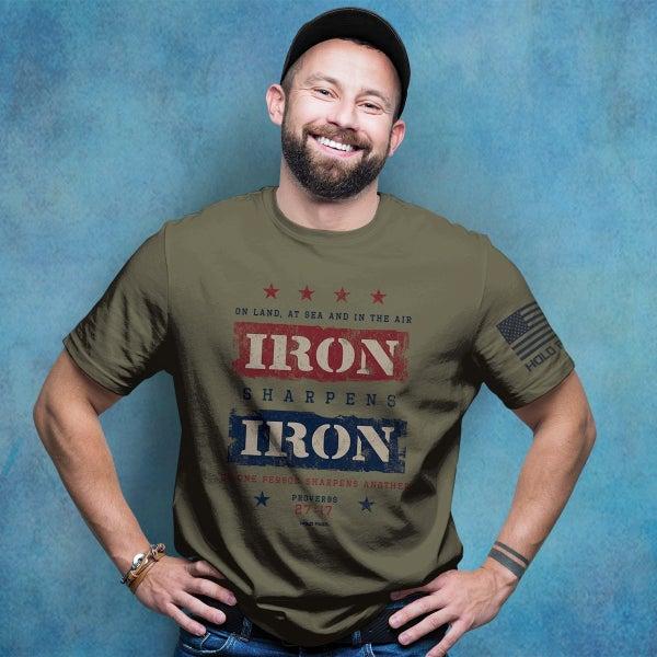Iron Sharpens Iron Men's Graphic Tee in Olive - Sizes S-3X