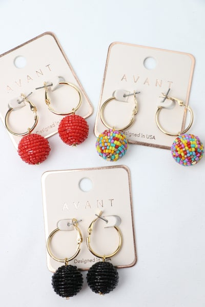 Off My Mind Gold Hoops With Beaded Ball In Multiple Colors