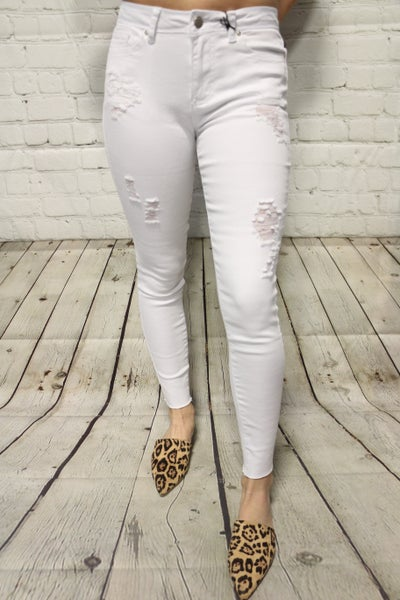 The Harper White Distressed Skinny Jeans- Sizes 1-15