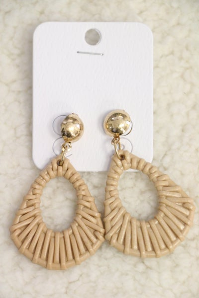Into The Wild Tan Wicker Design Earring