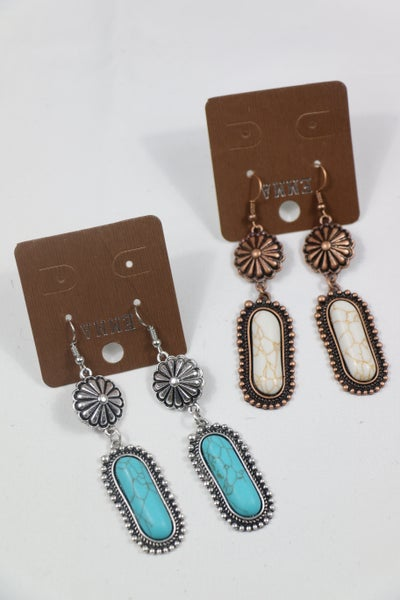 Rodeo Dreams Concho and Oblong Stone Earring In Multiple Colors
