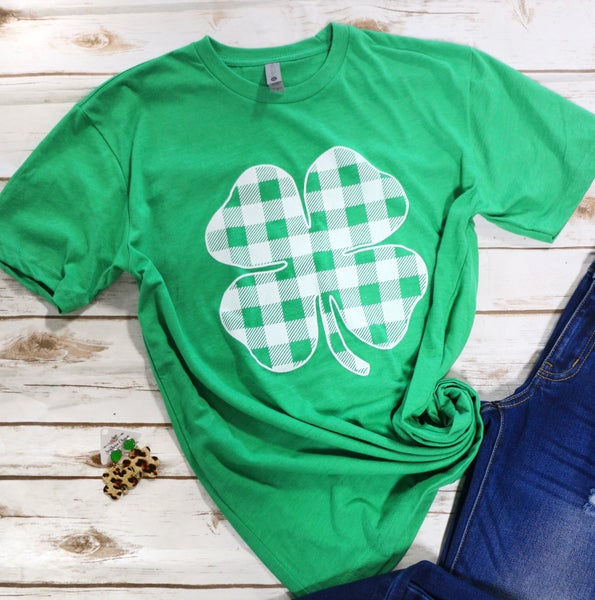 Luck Of The Irish Green Plaid Four Leaf Clover Graphic Tee - Sizes 4-20