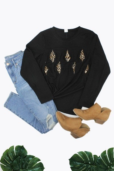 Touch of Wild Solid Long Sleeve Top with Leopard Peek-a-boo in Multiple Colors - Sizes 4-20