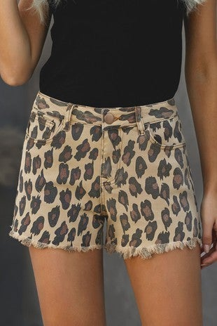 The Lacey Leopard Denim Short with Frayed Hem - Sizes 4-12