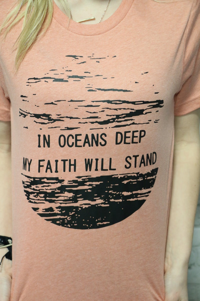 Oceans Deep Graphic Tee In Dusty Peach- Sizes 4-20*PRE-ORDER*