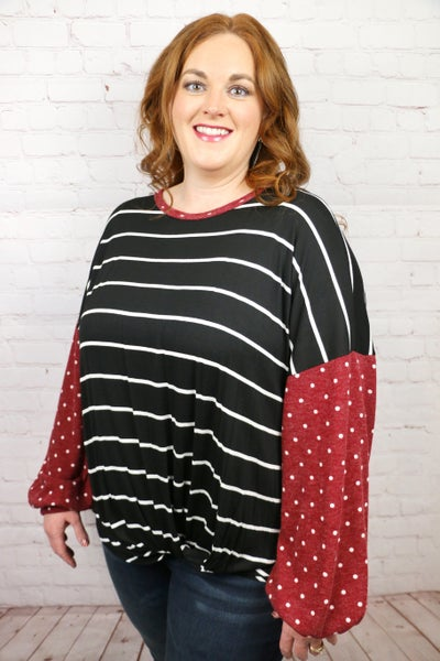 Closer To You Striped Top with Polka Dot Puff Sleeves - Sizes 12-20