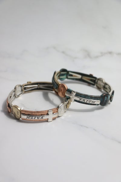 On Our Way Metal Cross Faith Stretch Bracelet In Multiple Colors
