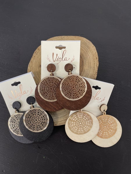 All Along Wood Disc And Gold Filigree  Disc Earring In Multiple Colors