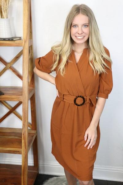 It's Amazing Rust Splice Dress with Belt - Sizes 4-10