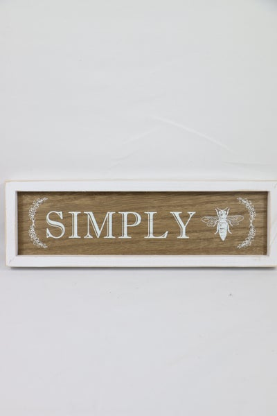 Simply Bee White And Wood Box Sign