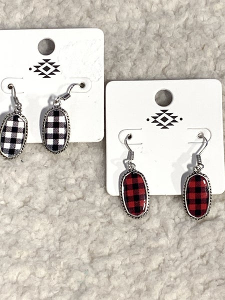 Together Forever Silver Earring With Oval Buffalo Plaid Pendant In Multiple Colors