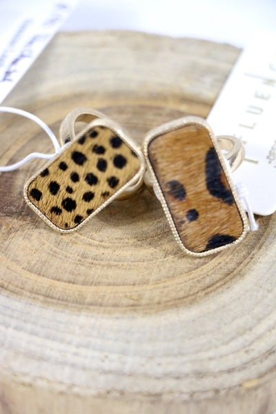Wild Thing Rectangle Ponyhair Adjustable Ring In Multiple Prints