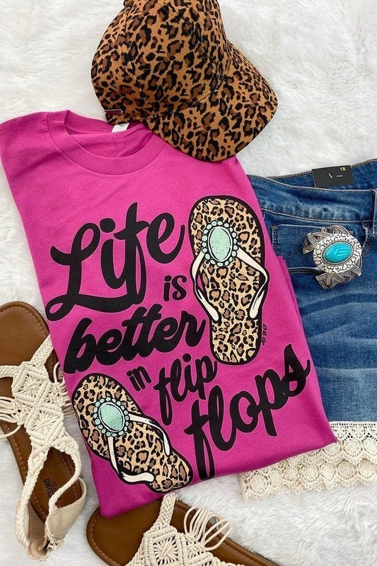 Life Is Better In Flip Flops Graphic Tee in Multiple Colors - Sizes 4-20