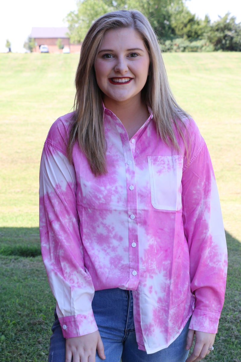 Couldn't Get Much Better Tie Dye Button Down Long Sleeve Top - Sizes 4-18