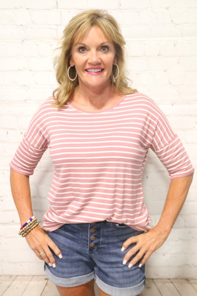 A Different Girl Mauve Striped Short Sleeve Top - Sizes 4-12