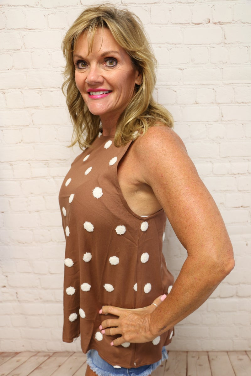 Let It Be Brown and Ivory Dotted Tank With Keyhole Back - Sizes - 4-12