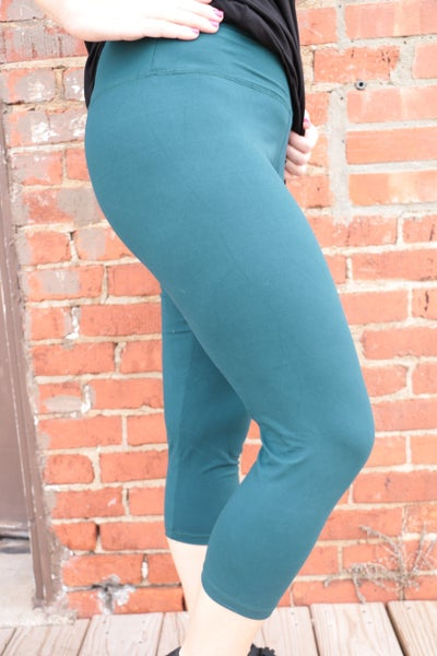 Best of You High Waist Teal Capri Leggings-Sizes-12-20