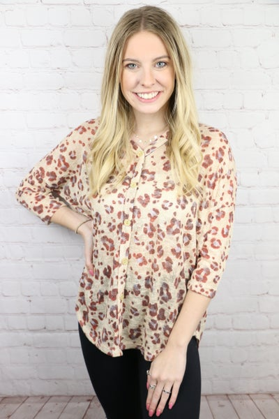 Feeling Good Leopard Button Up Top In Multiple Colors- Sizes 4-20