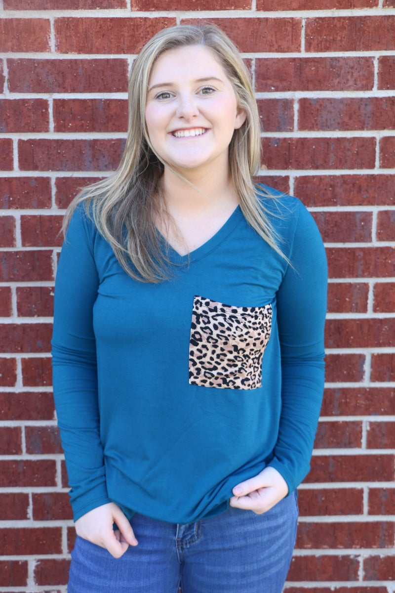 Crowd Favorite Leopard Pocketed Long Sleeve Top in Multiple Colors- Sizes 4-20
