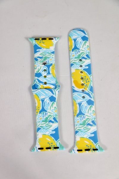 Sweetness Blue Lemon Printed Silicone Smart Watch Band - 38/40mm