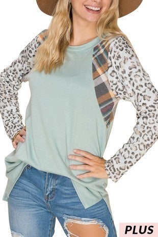 Always Yours Sage Body with Plaid and Leopard Accent Sleeve - Sizes 12-20