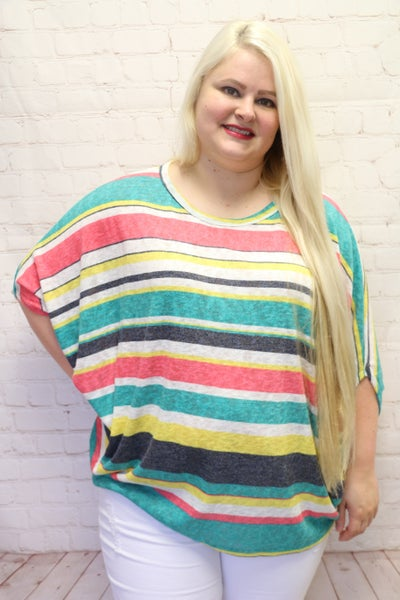 Loyal To The End Multi-Colored Striped Kimono Style Top - Sizes 4-20