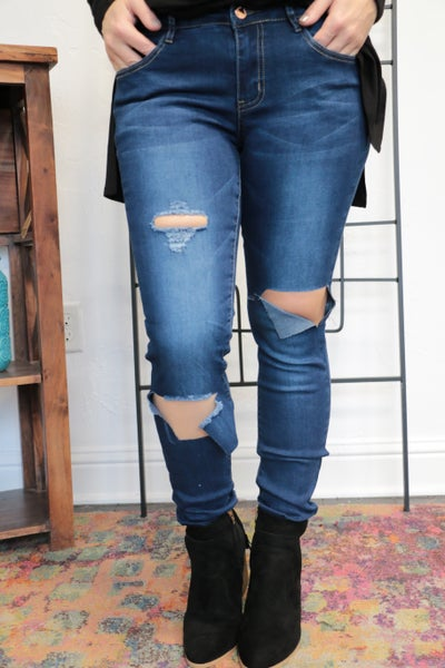 The Rachel Dark Wash Torn Denim Skinny Jeans Sizes 3-13