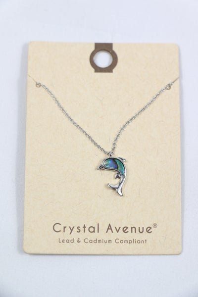 On The Waves Short Silver Necklace With Abalone Dolphin Pendant