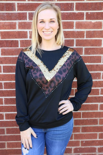 Fancy Feline Leopard and Gold Sequin Acceneted Black Long Sleeve Top - Sizes 4-18
